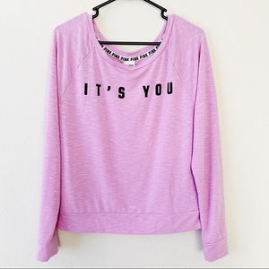 VS PINK It's You Not Me Statement Sweater Top